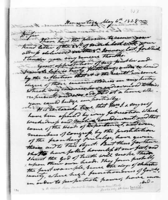 Andrew Jackson to Abner Greenleaf, May 6, 1828