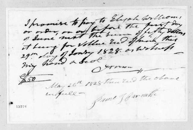 Andrew Jackson to Elijah Williams, May 26, 1828