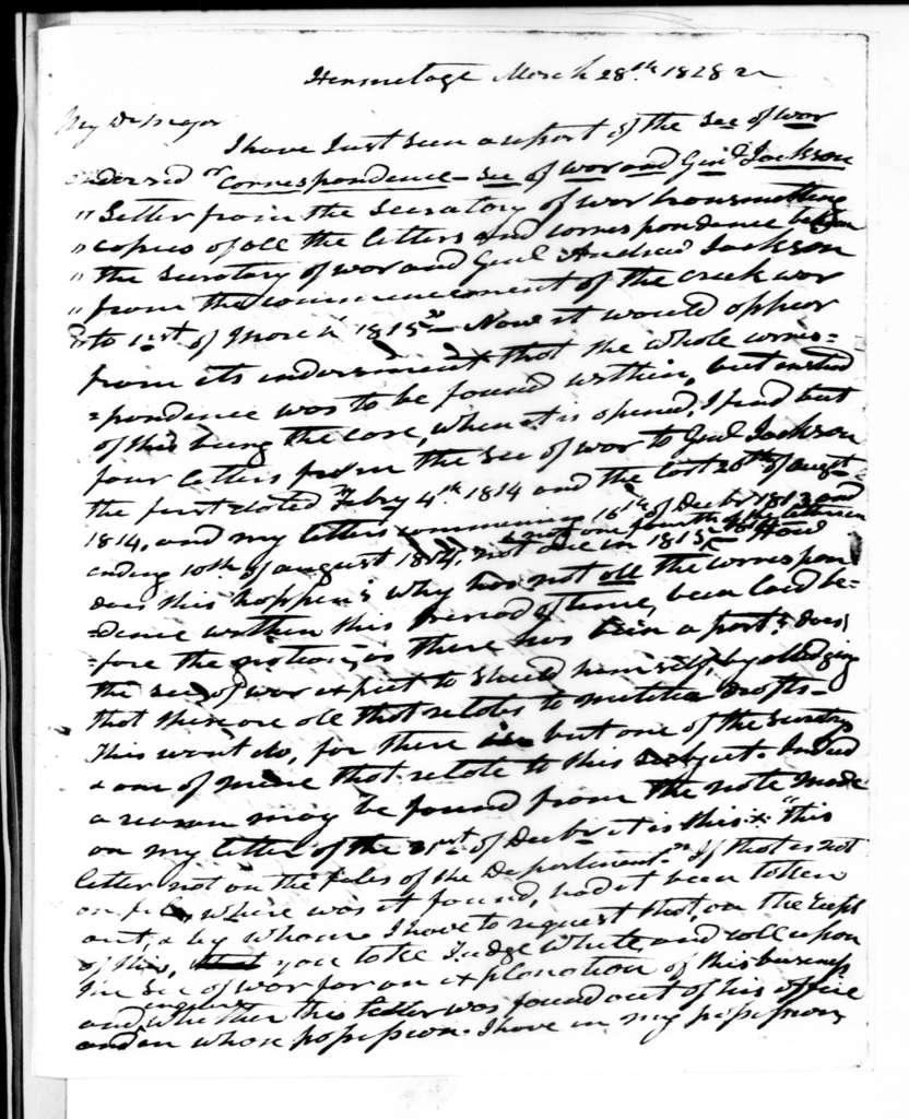 Andrew Jackson to John Henry Eaton, March 28, 1828