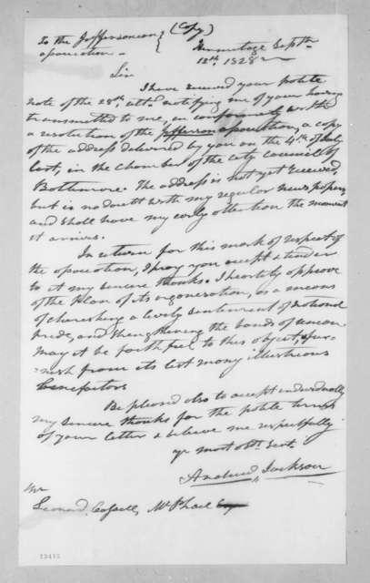 Andrew Jackson to Leonard Cassell McPhail, September 12, 1828