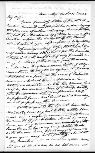 Andrew Jackson to Thomas Cadwalader, November 16, 1828