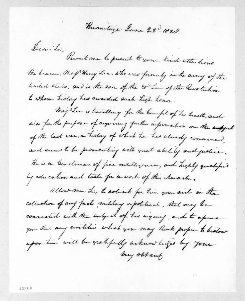 Andrew Jackson to Unknown, June 22, 1828