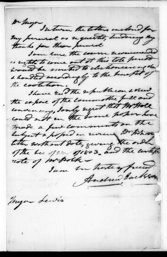 Andrew Jackson to William Berkeley Lewis, January 5, 1828