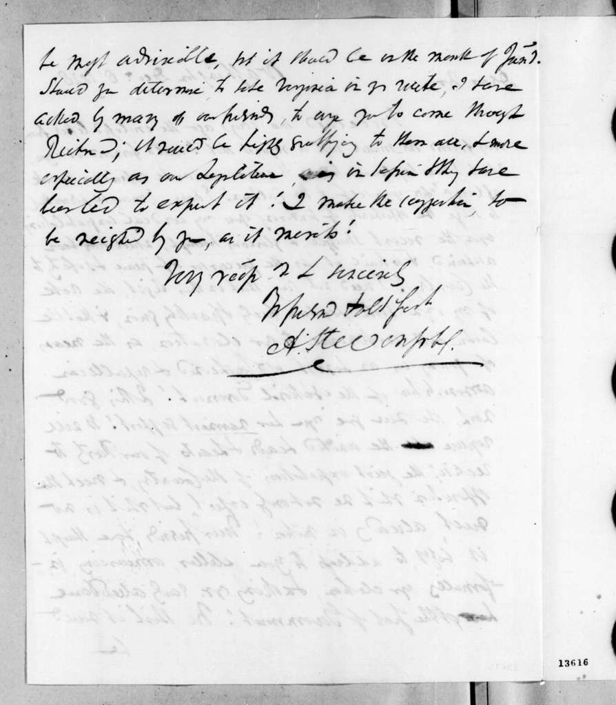 Andrew Stevenson to Andrew Jackson, December 8, 1828