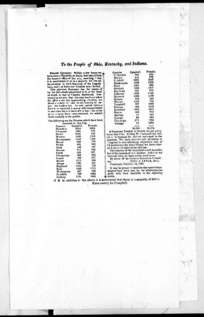 Arthur Lee Campbell to William Berkeley Lewis, October 30, 1828