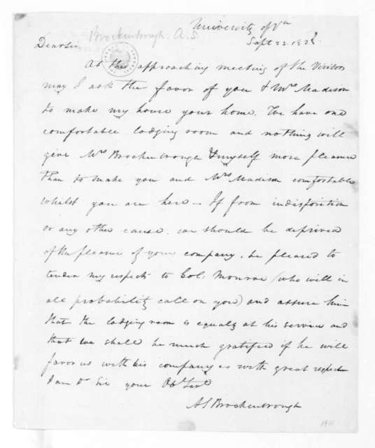 Arthur Spicer Brockenbrough to James Madison, September 23, 1828.