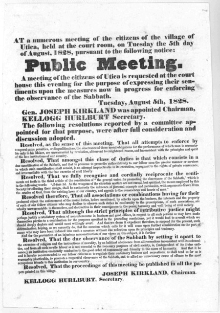 At a numerous meeting of the citizens of the village of Utica, held at the court room, on Tuesday the 5th day of August, 1828 ... for the purpose of expressing their sentiments upon the measures now in progress for enforcing the observance of th