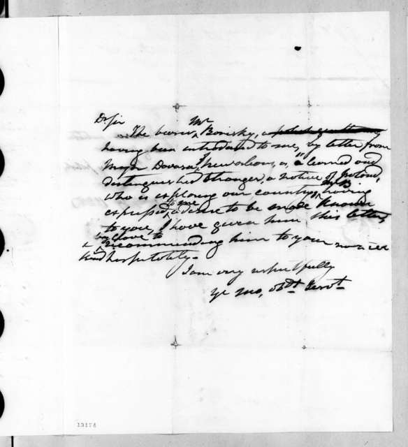 Auguste Genevieve Valentin Davezac to Andrew Jackson, February 14, 1828