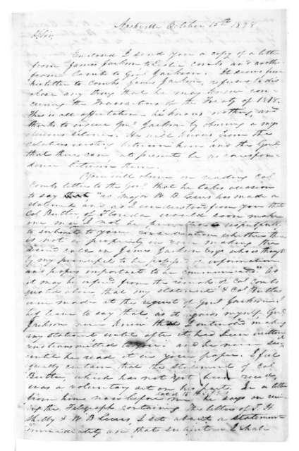 B. F. Currey to Andrew Jackson, October 15, 1828