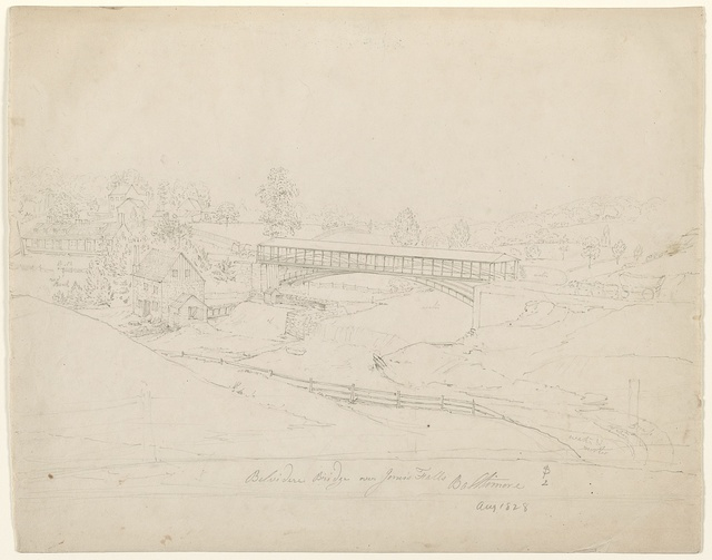 Belvidere Bridge over Jones's Falls, Baltimore, Aug. 1828