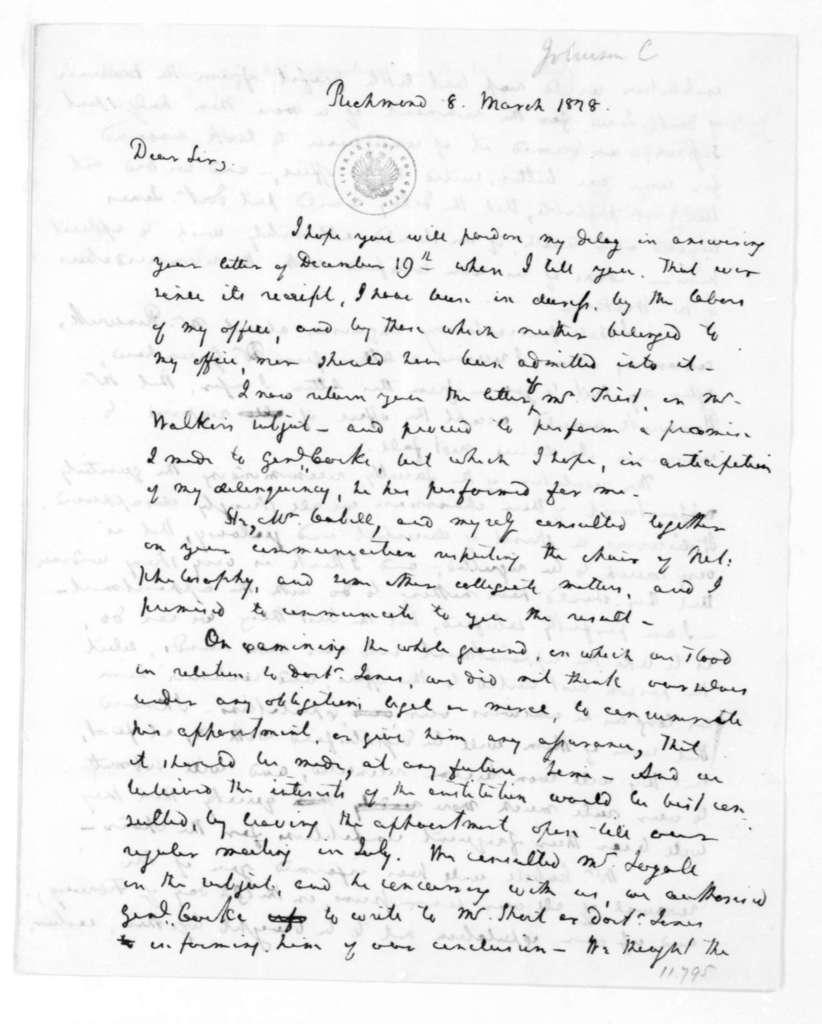 Chapman Johnson to James Madison, March 8, 1828.