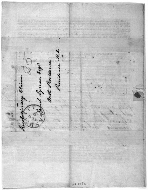Circular. Washington. July 19, 1828 Dear Sir: Being desirous to give you entire satisfaction, in regard to the commissions which have been charged by the agents who prosecuted your claim before Congress, for Revolutionary services, I must now re