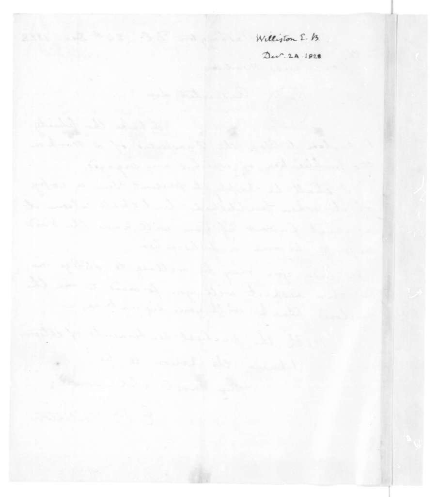 E. B. Williston to James Madison, December 24, 1828.