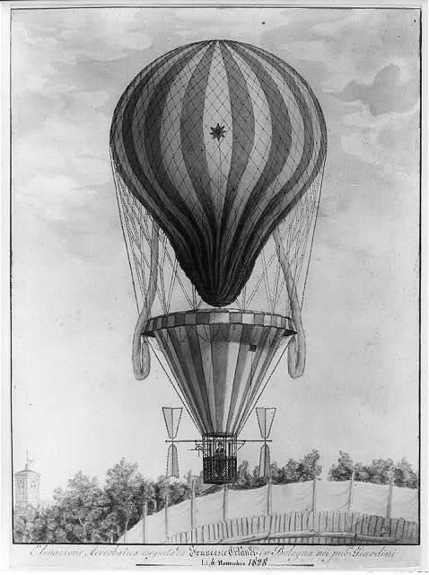 Elevazione aereobatica eseguita da Francesco Orlandi in Bologna nei pub. i Giardini, li 6 novembre 1828