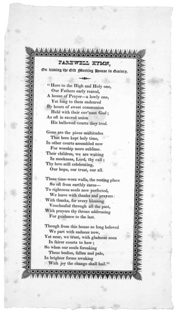 Farewell hymn, on leaving the Old meeting house in Quincy, [1828?].