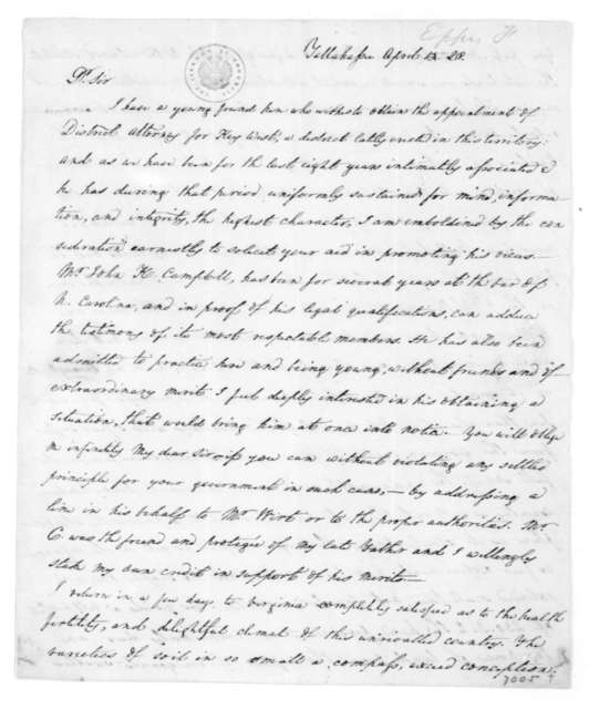 Francis Eppes to James Madison, April 15, 1828.