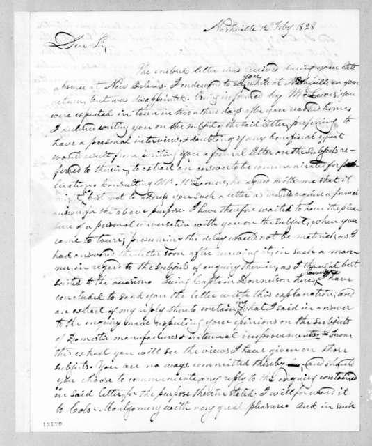 George Washington Campbell to Andrew Jackson, February 12, 1828