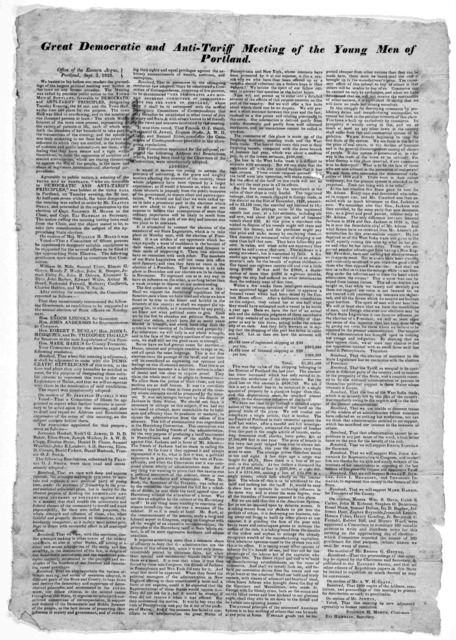 Great democratic and anti-tariff meeting of the young men of Portland. Office of the Eastern Argus, Portland, Sept. 3, 1828.