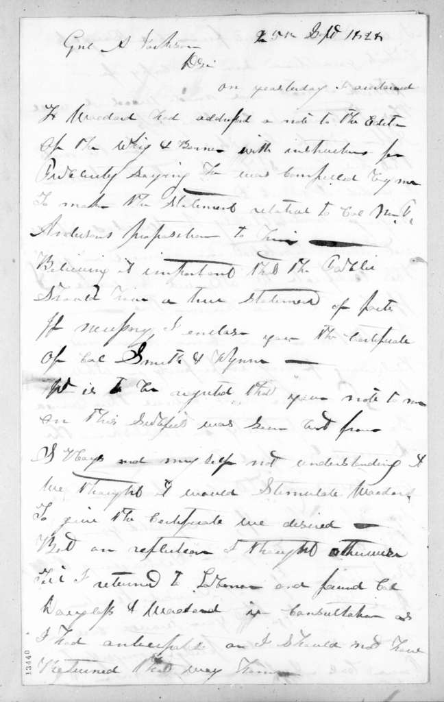 Harmon A. Hays to Andrew Jackson, September 25, 1828