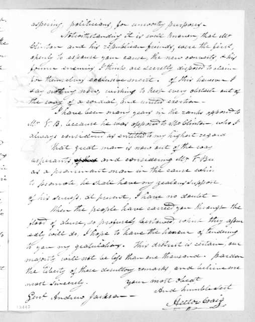 Hector Craig to Andrew Jackson, September 26, 1828