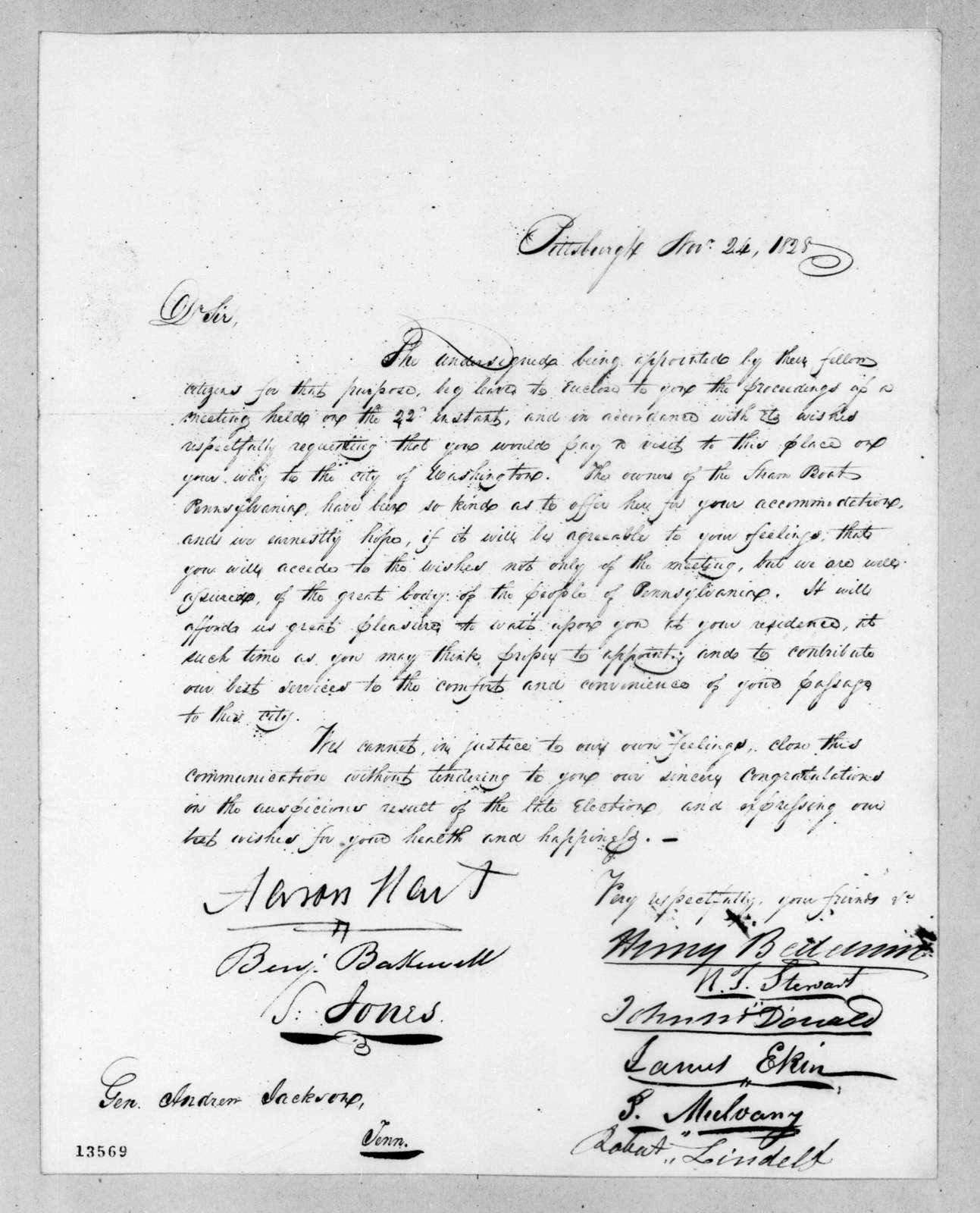 Henry Baldwin et al. to Andrew Jackson, November 24, 1828