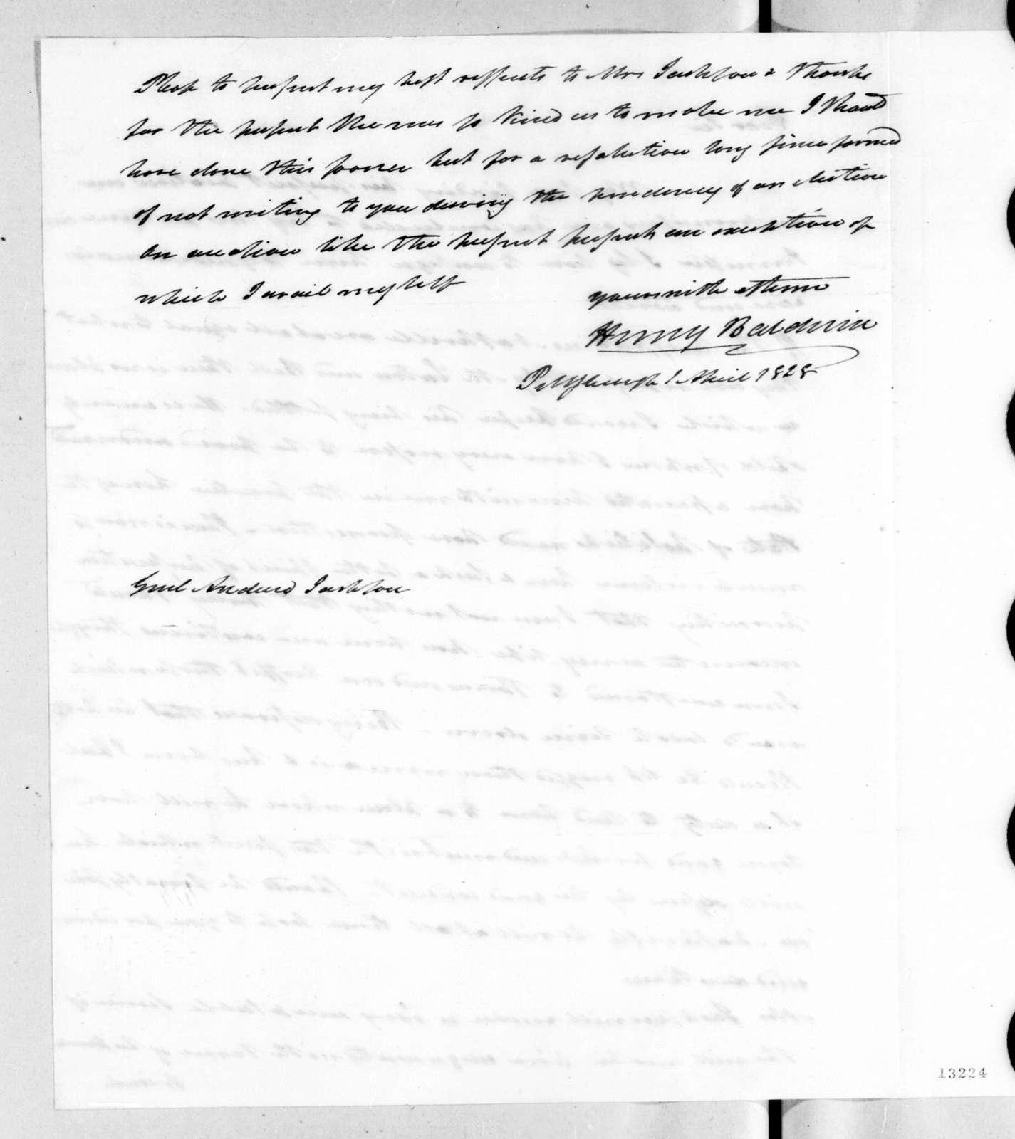 Henry Baldwin to Andrew Jackson, April 1, 1828