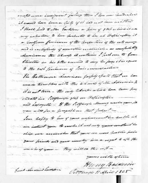 Henry Baldwin to Andrew Jackson, April 11, 1828