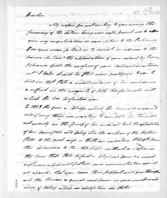 Henry Baldwin to Andrew Jackson, November 16, 1828