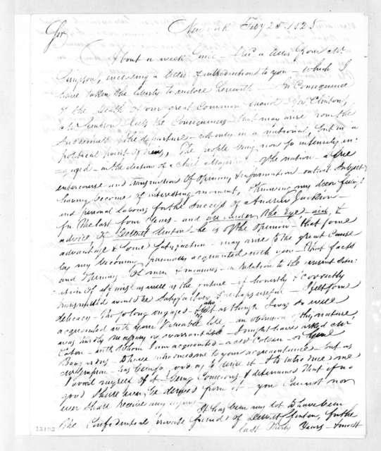 Henry E. Post, Jr. to Andrew Jackson, February 25, 1828