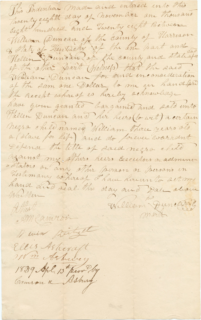 Indenture between William and Hellen Duncan for the sale of a three-year-old slave named William
