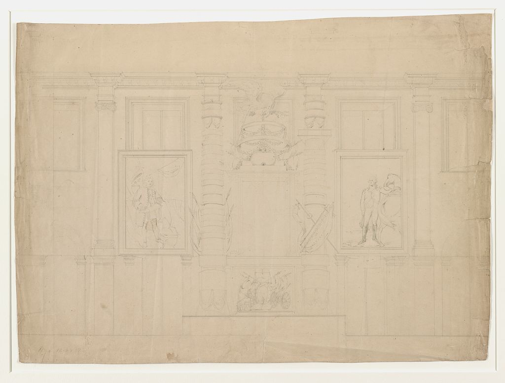 [Interior wall with architectural ornaments of the U.S. Capitol building with portrait of George Washington at Dorchester Heights by Gilbert Stuart and unidentified portrait of a man, possibly John Adams, on display]