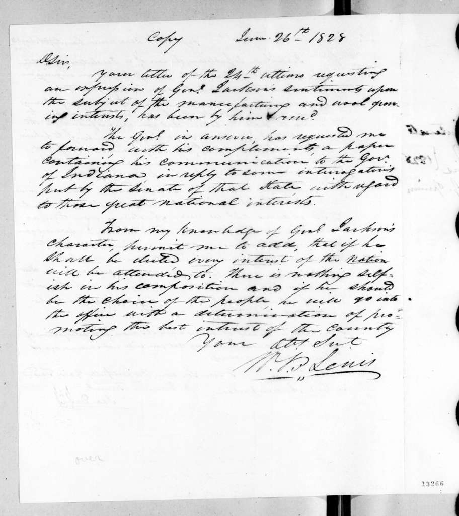 Ira Davis to Andrew Jackson, May 24, 1828