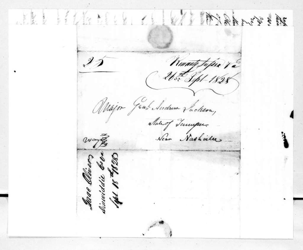 Isaac Oliver to Andrew Jackson, September 18, 1828