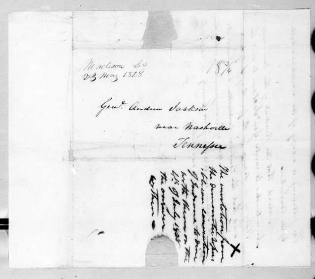 Israel Thompson Canby to Andrew Jackson, May 19, 1828