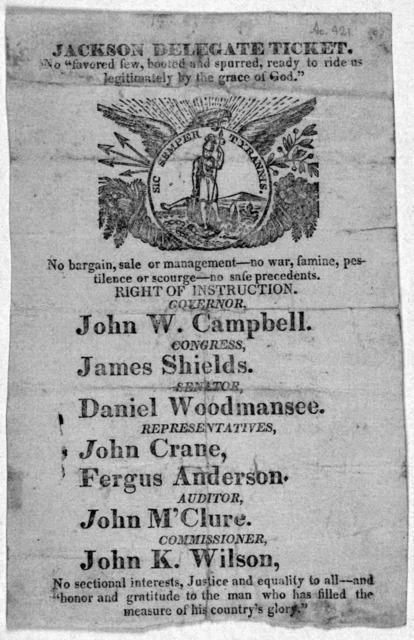 Jackson delegate ticket .... [1828?].