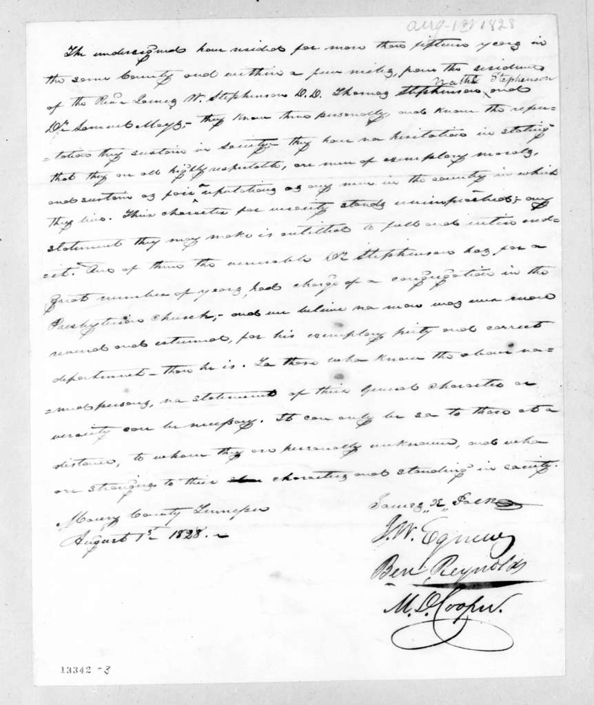 James Knox Polk et al. to Statement attesting to the good character of James W. Stephenson et al., August 1, 1828
