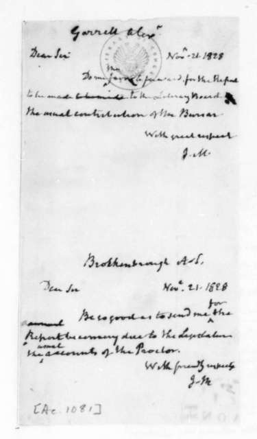 James Madison to Alexander Garrett, November 21, 1828. Includes letter to A. S. Brockenbrough Nov. 21, 1828.