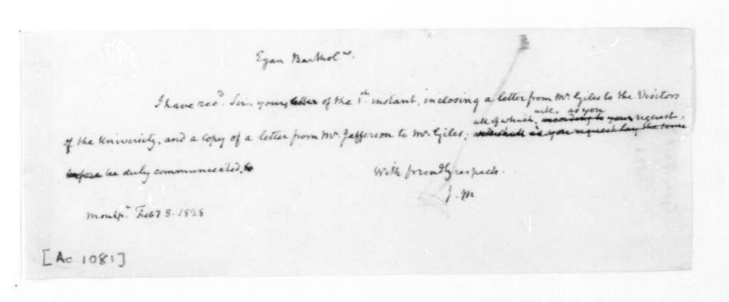 James Madison to Bartholomew Egan, February 8, 1828.