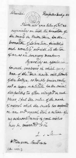 James Madison to H. Thompson, March 4, 1828. Uniontown Pennsylvania Literary Society.