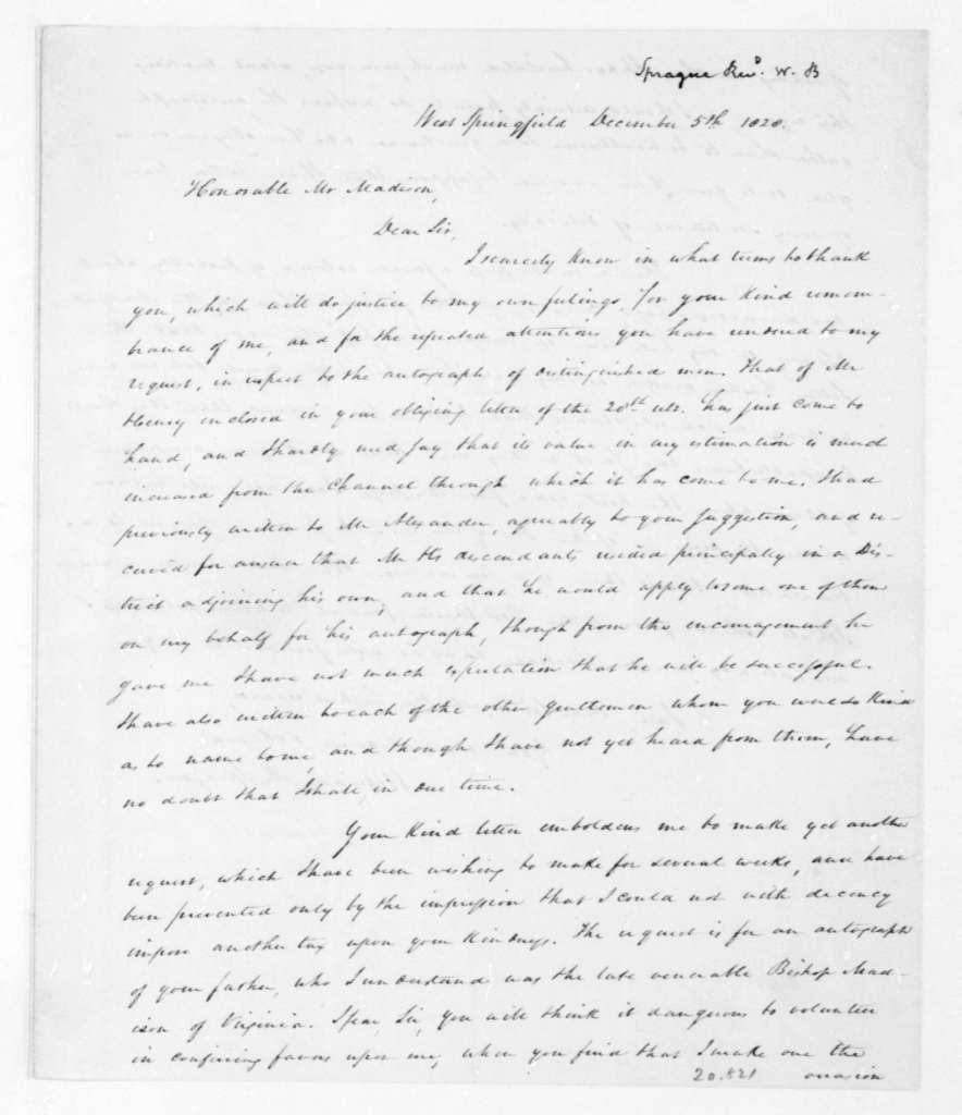 James Madison to James Barbour, December 18, 1828.