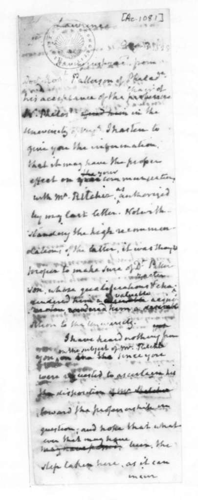 James Madison to Lawrence, August 3, 1828. On verso - James Madison to Daniel Brent, Aug. 3, 1828.