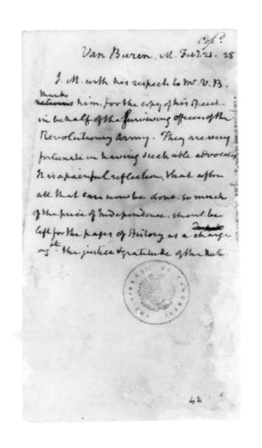 James Madison to Martin Van Buren, February 21, 1828.