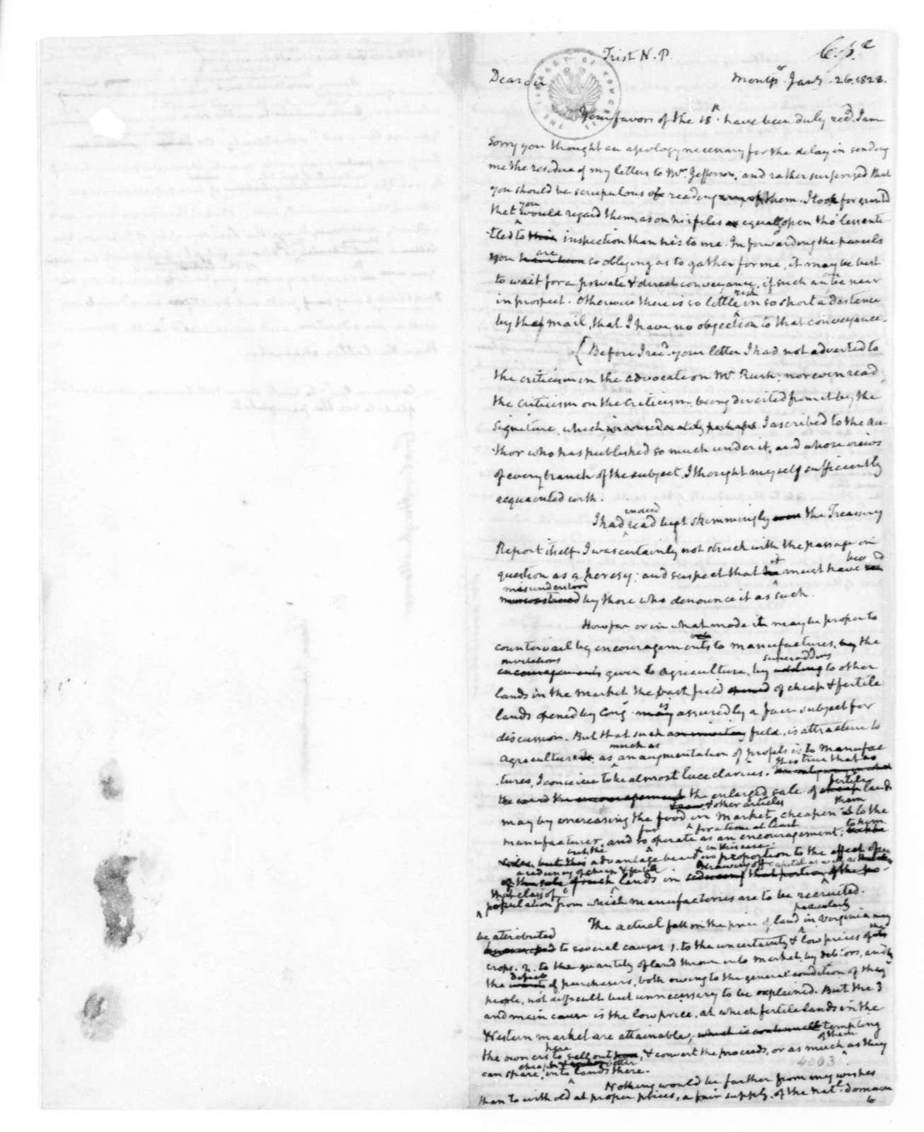 James Madison to Nicholas P. Trist, January 26, 1828.