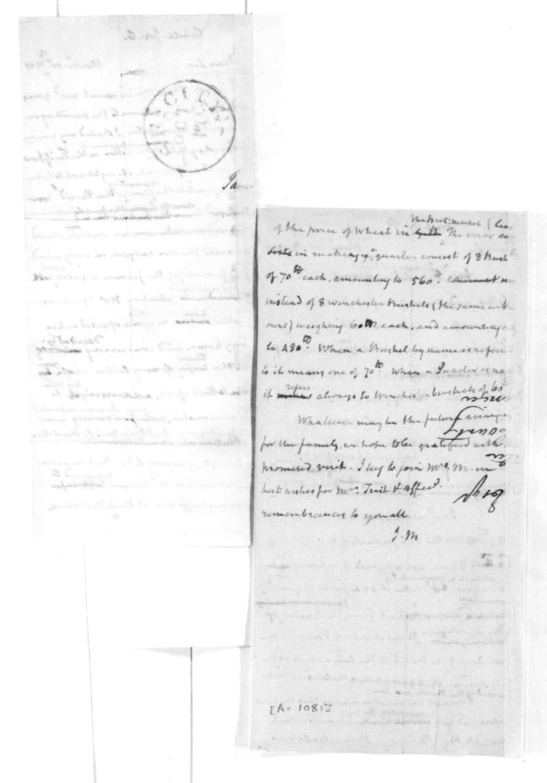James Madison to Nicholas P. Trist, October 12, 1828.