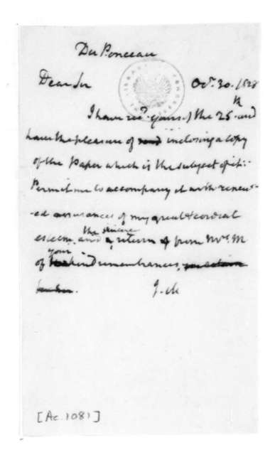 James Madison to Peter S. Duponceau, October 30, 1828.