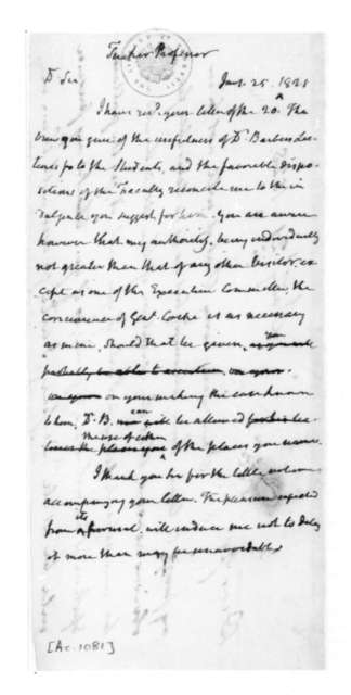 James Madison to Professor Tucker, January 25, 1828. On verso anonymous note dated Jan. 21, 1828.