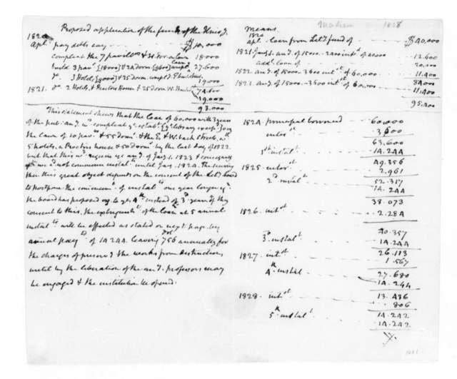 James Madison to Thomas Cooper. Regarding funds of the University of Virginia. 1828.