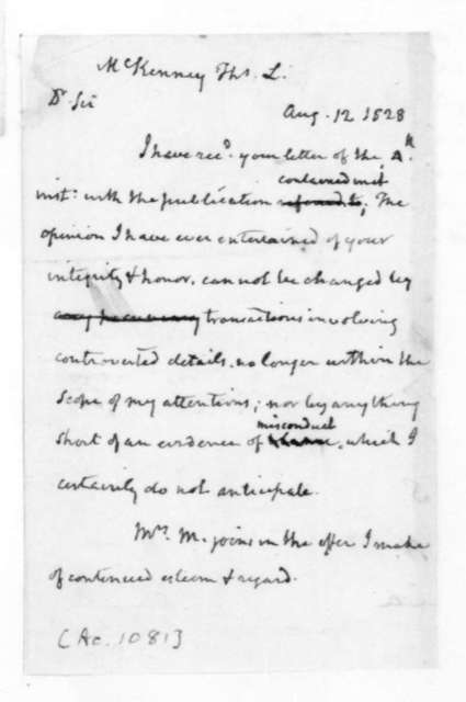James Madison to Thomas L. McKenney, August 12, 1828.
