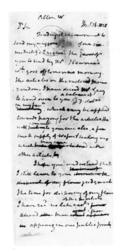 James Madison to William Allen, December 16, 1828.