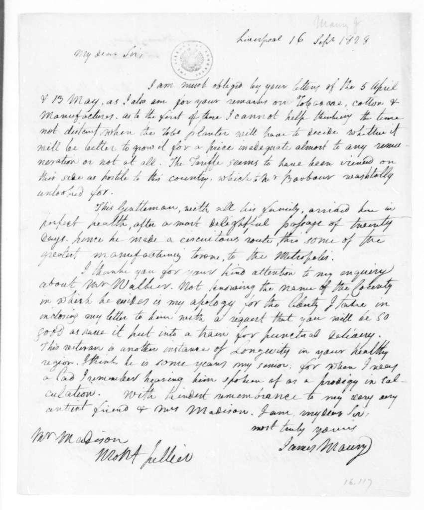 James Maury to James Madison, September 16, 1828.